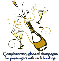 Complementary glass of champagne for passengers with each booking.